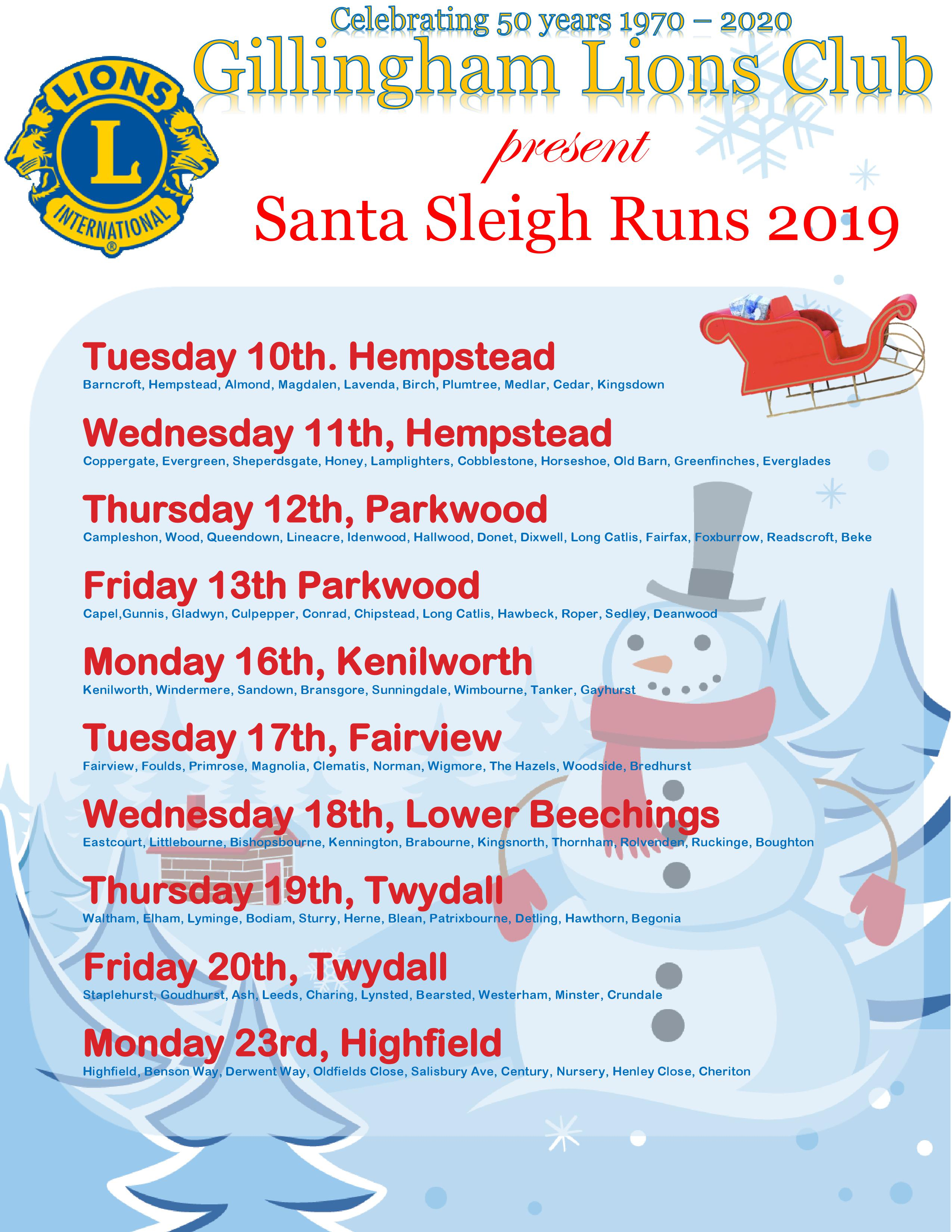 Dates for our sleigh collections